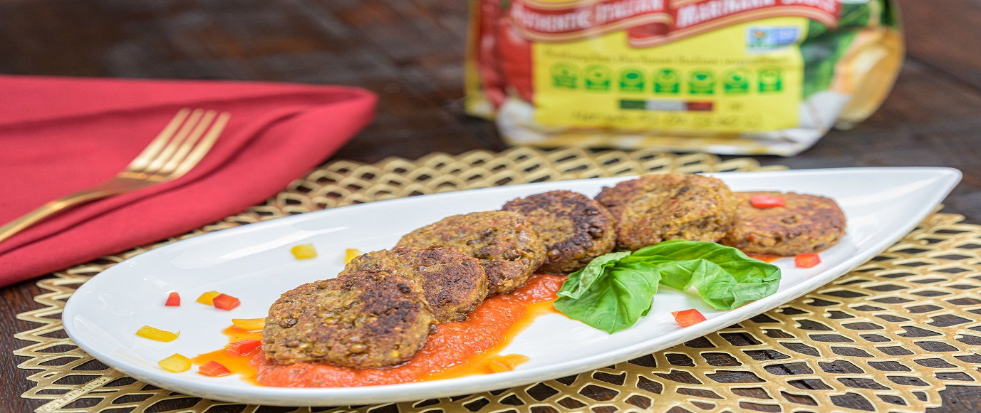 Quick Hearty Lentil Cakes with Marinara Sauce